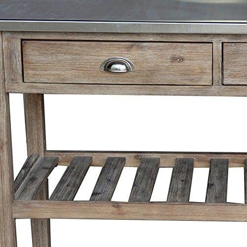 Boraam 98520 Sonoma Wire Brush Kitchen Cart 0 0