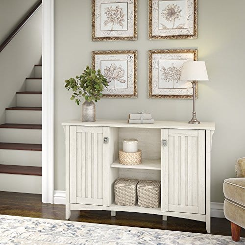 Bush Furniture Salinas Storage Cabinet With Doors In Antique White 0 0