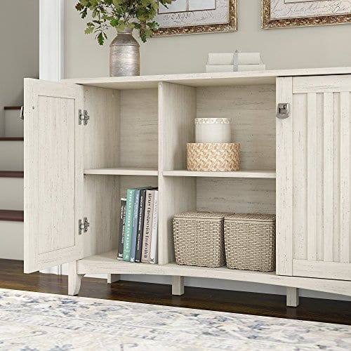 Bush Furniture Salinas Storage Cabinet With Doors In Antique White 0 1