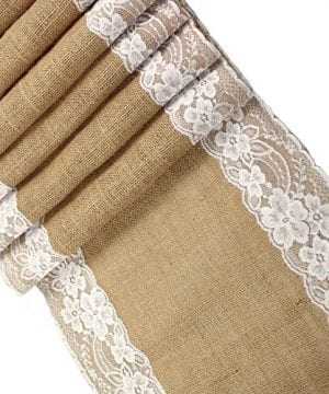 CCTRO Lace Hessian Table Runner Rustic Natural Jute Country Outdoor Wedding Party Vintage Ivory Burlap Table Cloths Decoration 12x108 Inches 0 300x360