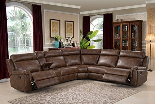 Christies Home Living CLARK 6PC SECTIONAL 6 Piece Reclining Living Room Sectional With 3 Recliners Clark Brown 0
