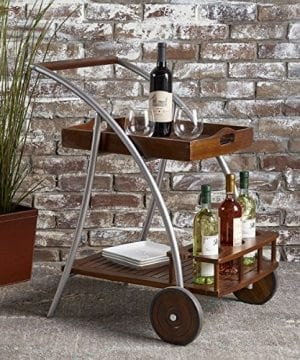 Christopher Knight Home Clover Farmhouse Cottage Rustic Acacia Wood Bar Cart BrownSilver 0 0 300x360