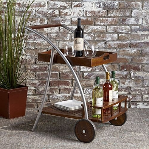 Christopher Knight Home Clover Farmhouse Cottage Rustic Acacia Wood Bar Cart BrownSilver 0 0