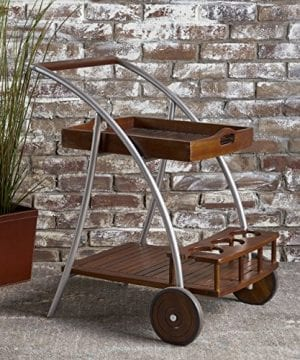Christopher Knight Home Clover Farmhouse Cottage Rustic Acacia Wood Bar Cart BrownSilver 0 300x360