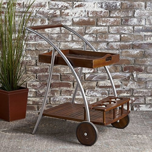 Christopher Knight Home Clover Farmhouse Cottage Rustic Acacia Wood Bar Cart BrownSilver 0