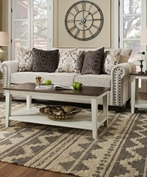 Classic Farmhouse Living Room Coffee Table Set Of 2 Tapered Legs Design Plank Style Top Functional Bottom Storage Shelf 1 Coffee 1 End Table Solid Wood Construction White Furniture Dcor 0 300x360