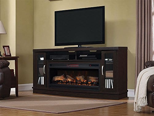 Classic Flame Hutchinson Infrared Electric Fireplace Entertainment Center Oak Espresso 0 2