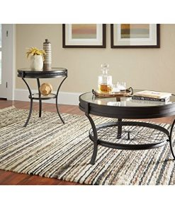 Coaster Furniture Round Glass Top Coffee Table Sandy Black