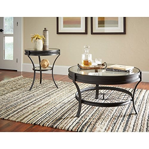 Coaster Furniture Round Glass Top Coffee Table Sandy Black 0 0