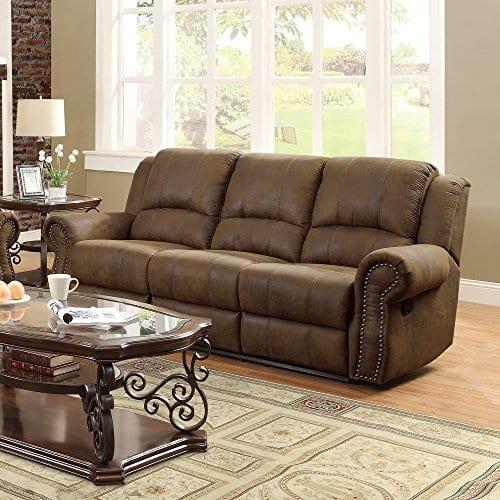 Coaster Home Furnishings Sir Rawlinson Motion Sofa With Nailhead Studs Buckskin Brown 0 1