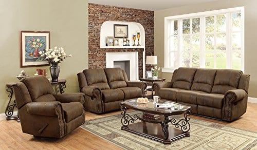 Coaster Home Furnishings Sir Rawlinson Motion Sofa With Nailhead Studs Buckskin Brown 0