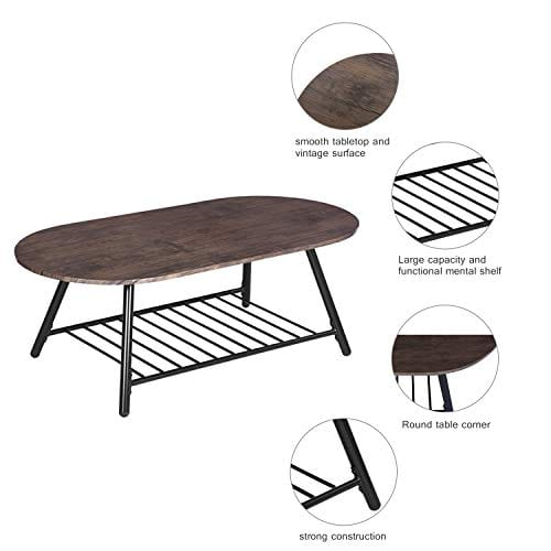 Coffee Table Wooden Industrial Feel Round Cocktail Table With Lower Metal Frame Vintage For Living Room Bedroom Home And Office Walnut 0 0