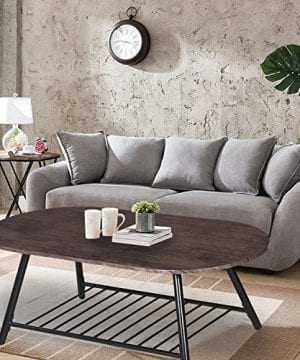 Coffee Table Wooden Industrial Feel Round Cocktail Table With Lower Metal Frame Vintage For Living Room Bedroom Home And Office Walnut 0 1 300x360