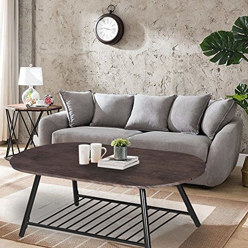 Coffee Table Wooden Industrial Feel Round Cocktail Table With Lower Metal Frame Vintage For Living Room Bedroom Home And Office Walnut 0 1