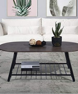 Coffee Table Wooden Industrial Feel Round Cocktail Table With Lower Metal Frame Vintage For Living Room Bedroom Home And Office Walnut 0 2 300x360