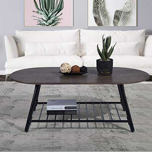 Coffee Table Wooden Industrial Feel Round Cocktail Table With Lower Metal Frame Vintage For Living Room Bedroom Home And Office Walnut 0 2