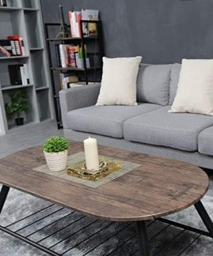 Coffee Table Wooden Industrial Feel Round Cocktail Table With Lower Metal Frame Vintage For Living Room Bedroom Home And Office Walnut 0 3 300x360