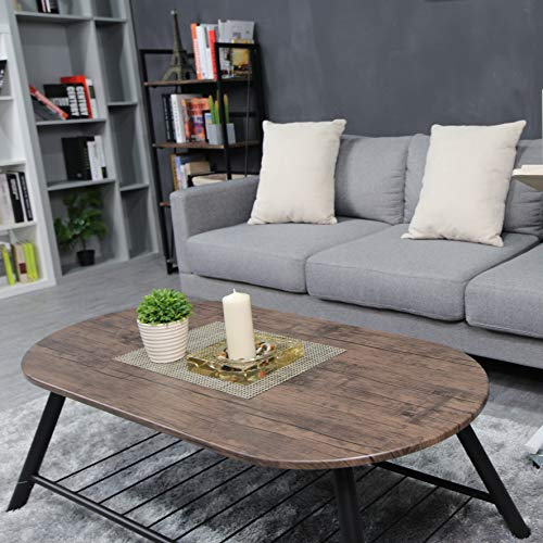 Coffee Table Wooden Industrial Feel Round Cocktail Table With Lower Metal Frame Vintage For Living Room Bedroom Home And Office Walnut 0 3