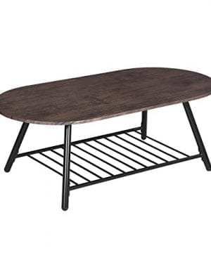 Coffee Table Wooden Industrial Feel Round Cocktail Table With Lower Metal Frame Vintage For Living Room Bedroom Home And Office Walnut 0 300x360