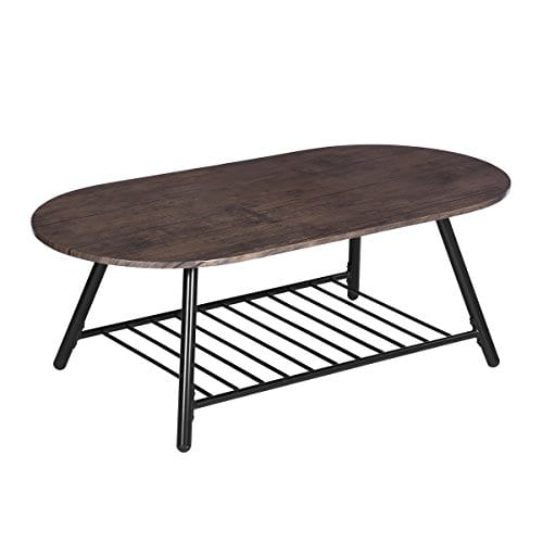 Coffee Table Wooden Industrial Feel Round Cocktail Table With Lower Metal Frame Vintage For Living Room Bedroom Home And Office Walnut 0