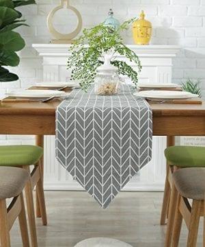 ColorBird Gray Medallion Table Runner Cotton Linen Runners For Kitchen Dining Living Room Table Linen Decor 0 0 300x360
