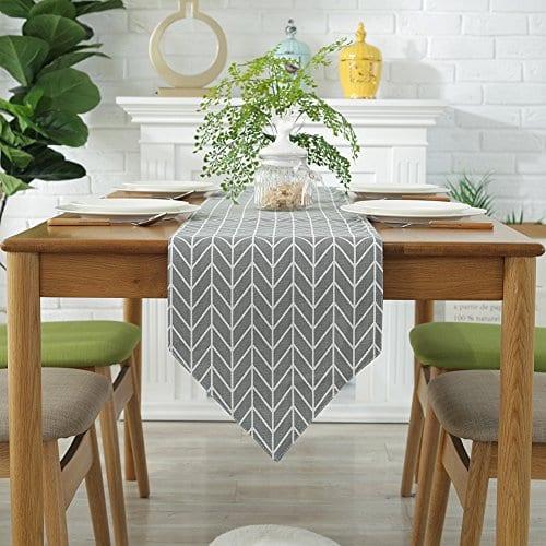 ColorBird Gray Medallion Table Runner Cotton Linen Runners for Kitchen  Dining Living Room Table Linen Decor
