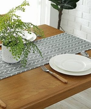 ColorBird Gray Medallion Table Runner Cotton Linen Runners For Kitchen Dining Living Room Table Linen Decor 0 1 300x360