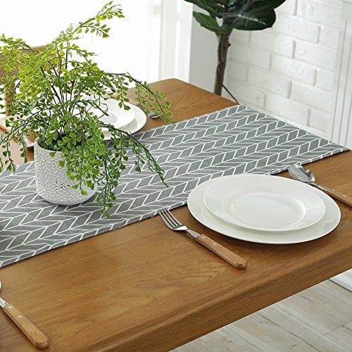 ColorBird Gray Medallion Table Runner Cotton Linen Runners For Kitchen Dining Living Room Table Linen Decor 0 1