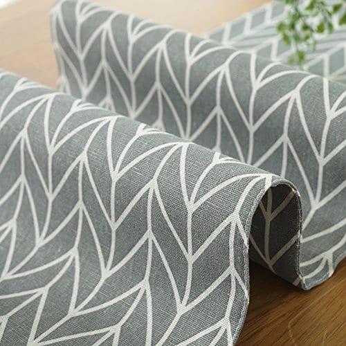 ColorBird Gray Medallion Table Runner Cotton Linen Runners For Kitchen Dining Living Room Table Linen Decor 0 2