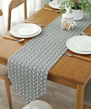 ColorBird Gray Medallion Table Runner Cotton Linen Runners For Kitchen Dining Living Room Table Linen Decor 0 300x360