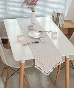 ColorBird Tassel Table Runner Striped Cotton Linen Runners for Kitchen  Dining Living Room Table Linen Decor (12 x 70 Inch, Beige)