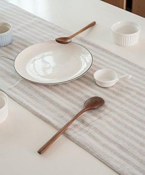 ColorBird Tassel Table Runner Striped Cotton Linen Runners For Kitchen Dining Living Room Table Linen Decor 0 1 300x360