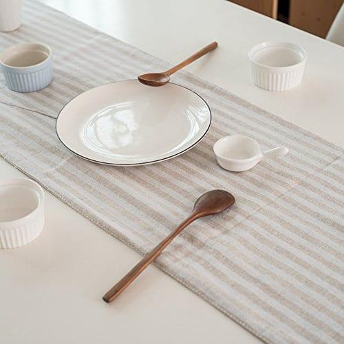 ColorBird Tassel Table Runner Striped Cotton Linen Runners For Kitchen Dining Living Room Table Linen Decor 0 1