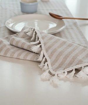 ColorBird Tassel Table Runner Striped Cotton Linen Runners For Kitchen Dining Living Room Table Linen Decor 0 2 300x360