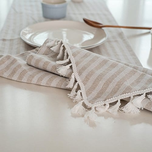 ColorBird Tassel Table Runner Striped Cotton Linen Runners For Kitchen Dining Living Room Table Linen Decor 0 2