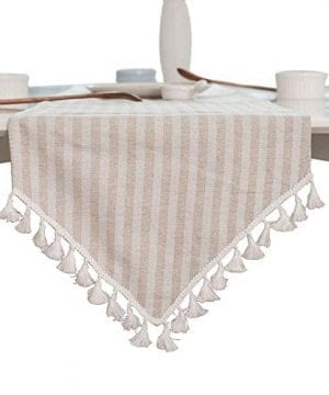ColorBird Tassel Table Runner Striped Cotton Linen Runners For Kitchen Dining Living Room Table Linen Decor 0 300x360