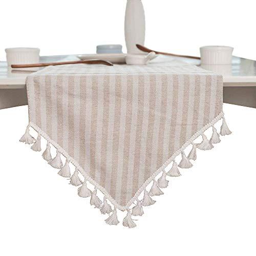 ColorBird Tassel Table Runner Striped Cotton Linen Runners For Kitchen Dining Living Room Table Linen Decor 0