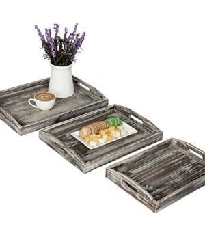 Country Rustic Torched Wood Nesting Breakfast Serving Trays With Handles Set Of 3 0 0 300x360
