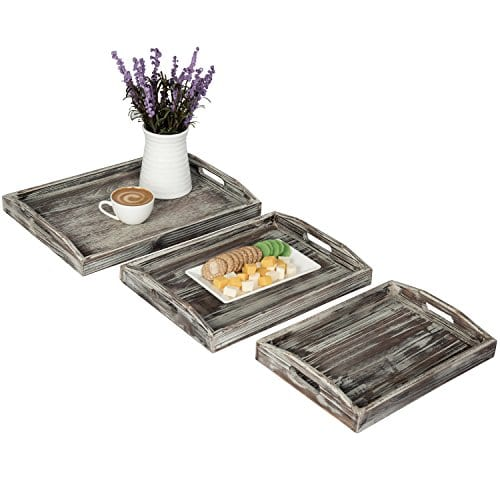 Country Rustic Torched Wood Nesting Breakfast Serving Trays With Handles Set Of 3 0 0