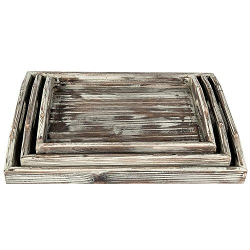 Country Rustic Torched Wood Nesting Breakfast Serving Trays With Handles Set Of 3 0 2