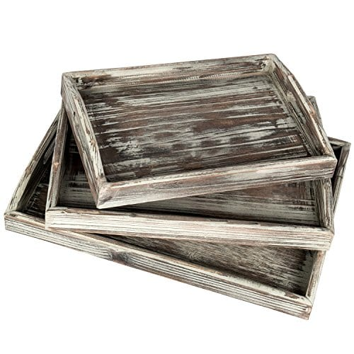 Country Rustic Torched Wood Nesting Breakfast Serving Trays With Handles Set Of 3 0