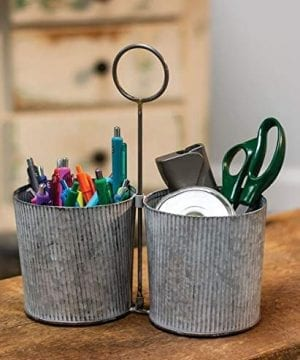 Craft House Designs Galvanized Desk Organizer Accent Or Utensil Caddy For Rustic Farmhouse Industrial Style 0 0 300x360