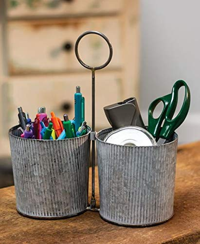 Craft House Designs Galvanized Desk Organizer Accent Or Utensil Caddy For Rustic Farmhouse Industrial Style 0 0