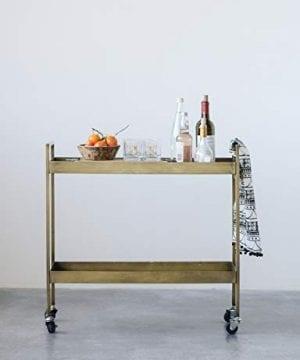Creative Co Op Metal 2 Tier Bar Cart On Caster Wheels 03 Furniture CabinetsShelf Unit 0 0 300x360