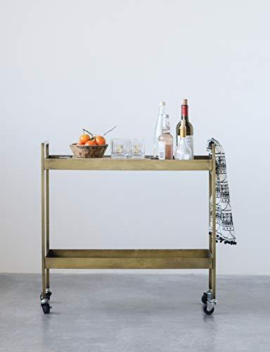 Creative Co Op Metal 2 Tier Bar Cart On Caster Wheels 03 Furniture CabinetsShelf Unit 0 0