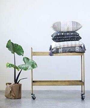 Creative Co Op Metal 2 Tier Bar Cart On Caster Wheels 03 Furniture CabinetsShelf Unit 0 1 300x360