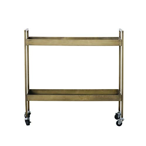 Creative Co Op Metal 2 Tier Bar Cart On Caster Wheels 03 Furniture CabinetsShelf Unit 0