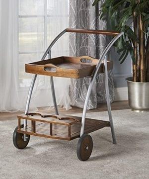 Crosby Indoor Farmhouse Cottage Dark Oak Acacia Wood Bar Cart 0 0 300x360