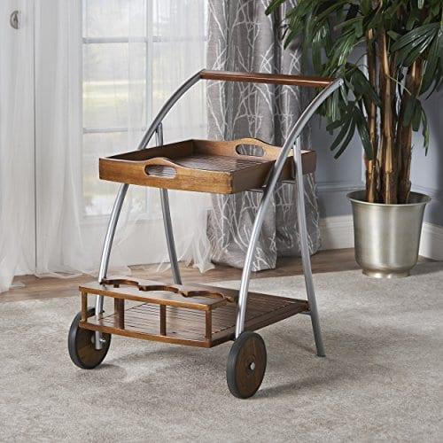 Crosby Indoor Farmhouse Cottage Dark Oak Acacia Wood Bar Cart 0 0