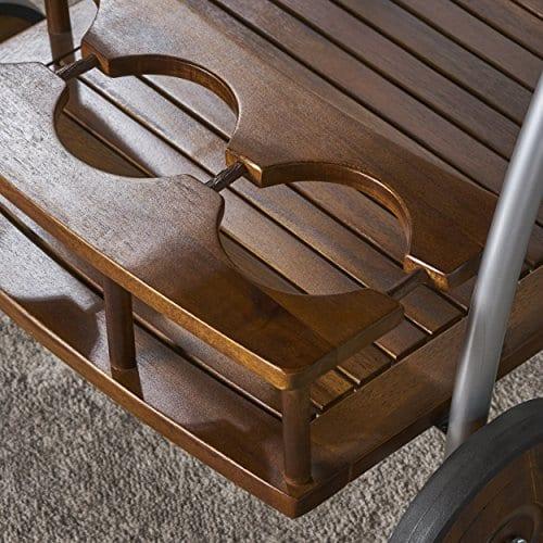 Crosby Indoor Farmhouse Cottage Dark Oak Acacia Wood Bar Cart 0 3